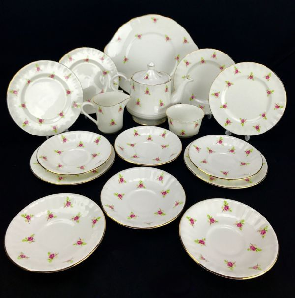 Queensway Staffordshire China Tea Set Vintage / Pink Rose / For 6 People / Trio